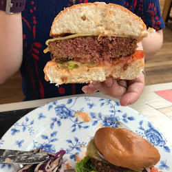 Vegan burger which looks realistic